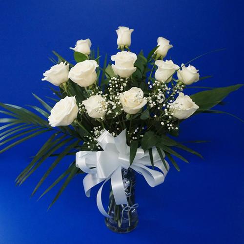 Twelve roses in a vase