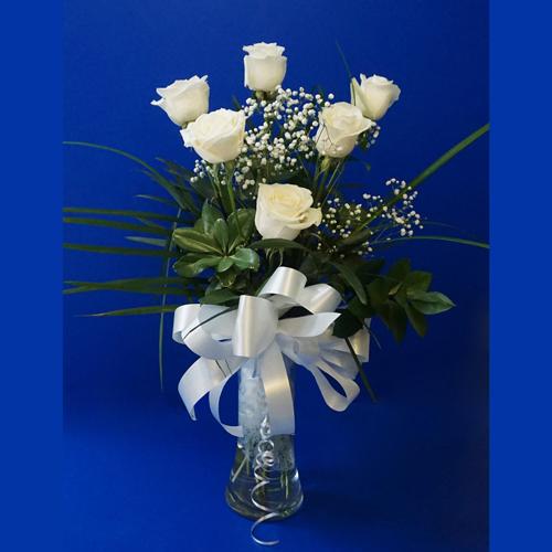 Six Roses en Vase